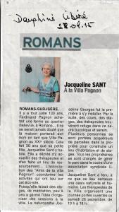 Article Le Dauphiné Libéré 23/09/2015